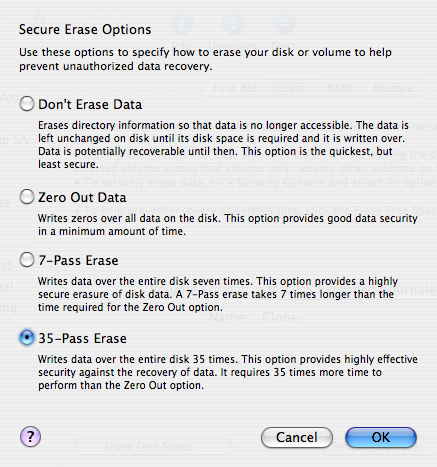 Disk Utility erase options